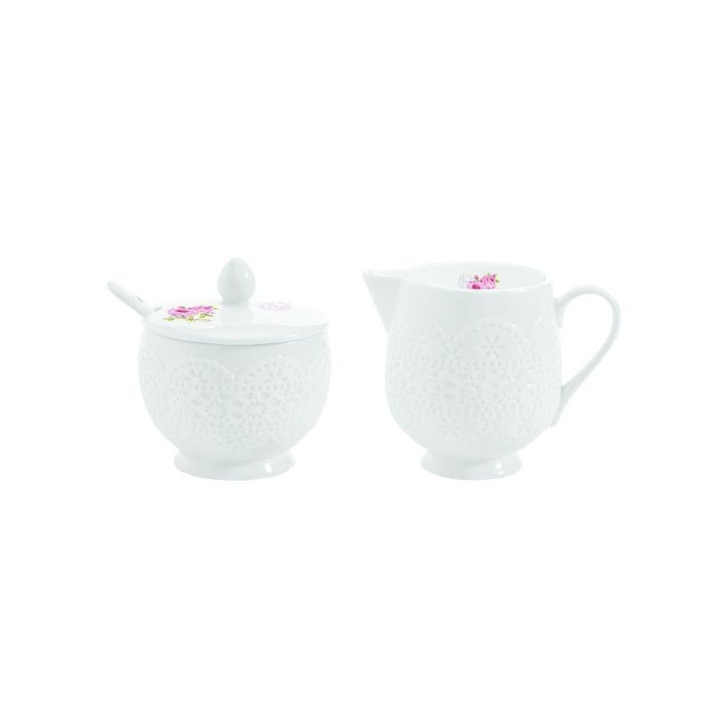 Cukiernica z łyżeczką i mlecznik do kawy