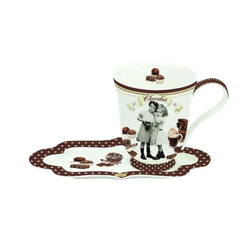 Kubek z talerzykiem z porcelany