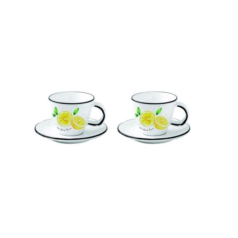 Zestaw 2 porcelanowych filiżanek espresso z talerz